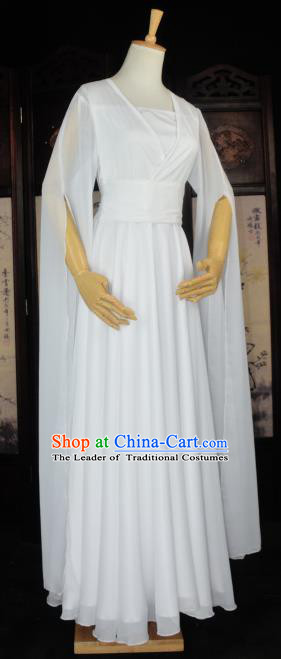 Chinese Ancient Cosplay Tang Dynasty Chivalrous Lady Fairy Dance Costumes, Chinese Traditional White Hanfu Dress Clothing Chinese Cosplay Swordswoman Costume for Women