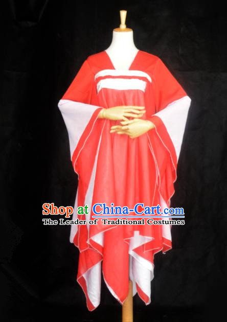 Chinese Ancient Cosplay Tang Dynasty Princess Costumes, Chinese Traditional Red Dress Clothing Chinese Cosplay Palace Lady Costume for Women