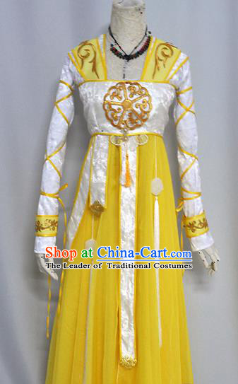 Chinese Ancient Cosplay Han Dynasty Princess Costumes, Chinese Traditional Yellow Dress Clothing Chinese Cosplay Palace Lady Costume for Women