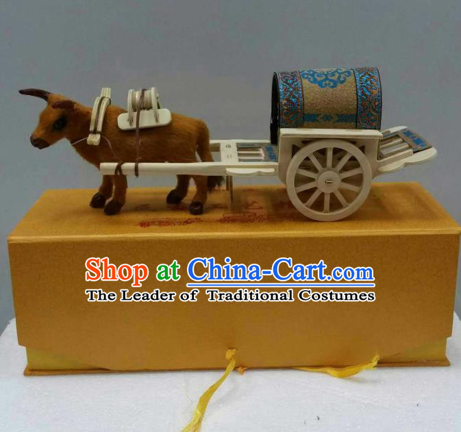 Traditional Handmade Chinese Mongol Nationality Handmade Decoration Bullock-Cart Home Ornaments, China Mongols Mongolian Minority Nationality Hackery