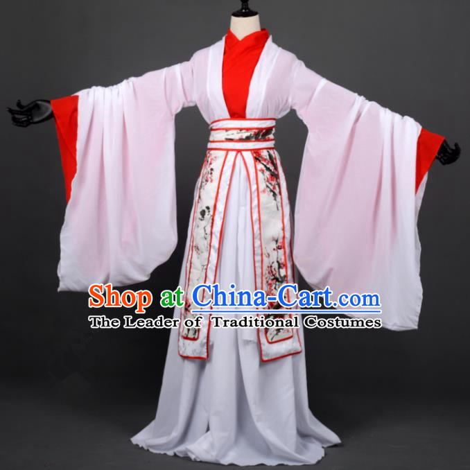 Chinese Ancient Cosplay Han Dynasty Fairy Costumes, Chinese Traditional Embroidery Plum Blossom Hanfu Dress Clothing Chinese Cosplay Princess Costume for Women