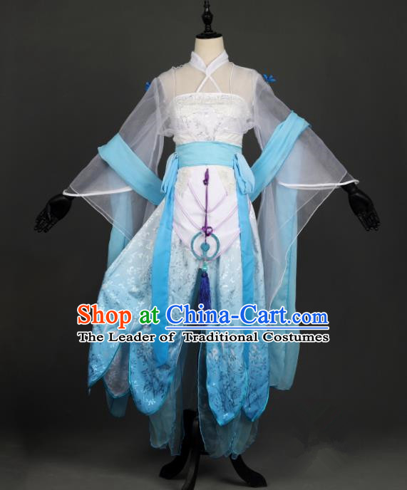 Chinese Ancient Cosplay Han Dynasty Young Lady Costumes, Chinese Traditional Embroidery Blue Hanfu Dress Clothing Chinese Swordswoman Fairy Costume for Women