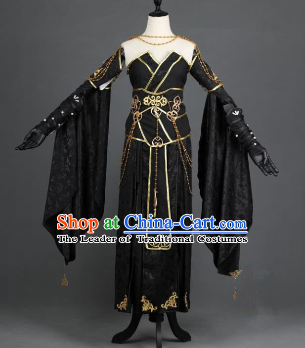 Chinese Ancient Cosplay Han Dynasty Young Lady Costumes, Chinese Traditional Embroidery Black Hanfu Dress Clothing Chinese Swordswoman Fairy Costume for Women