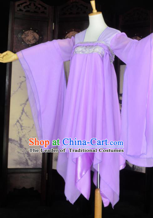 Chinese Ancient Cosplay Tang Dynasty Fairy Costumes, Chinese Traditional Hanfu Purple Dress Clothing Chinese Palace Lady Dance Costume for Women