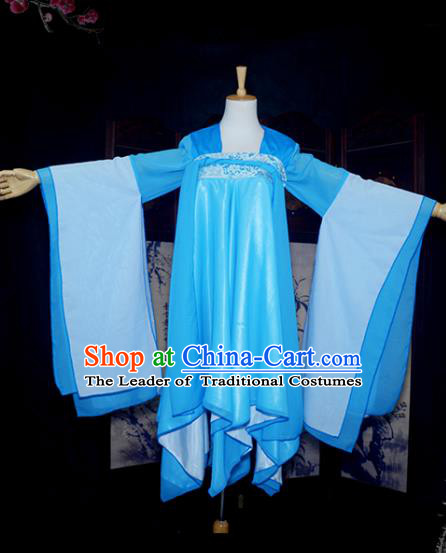 Chinese Ancient Cosplay Tang Dynasty Young Lady Blue Dress, Chinese Traditional Hanfu Clothing Chinese Fairy Costume for Women