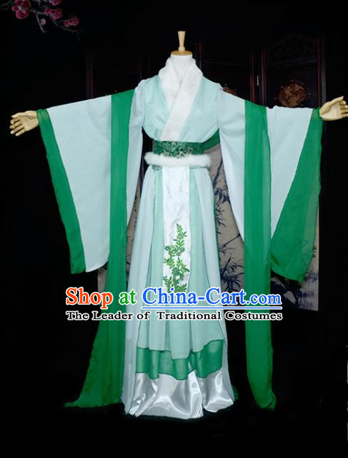 Chinese Ancient Cosplay Tang Dynasty Young Lady Embroidery Bamboo Green Dress, Chinese Traditional Hanfu Clothing Chinese Fairy Costume for Women