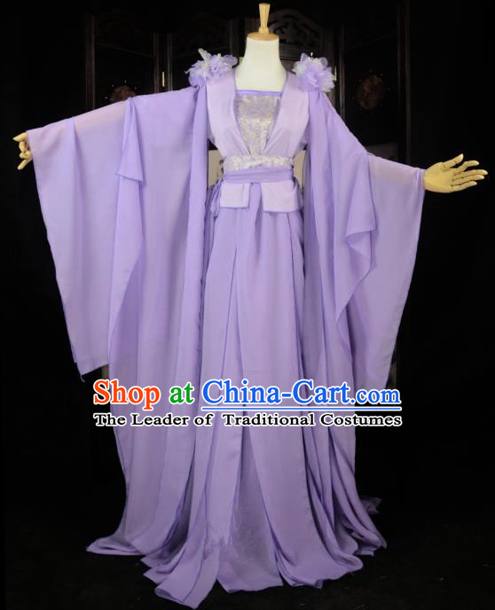 Chinese Ancient Cosplay Song Dynasty Princess Fairy Costumes, Chinese Traditional Hanfu Lilac Dress Clothing Chinese Palace Lady Dance Costume for Women