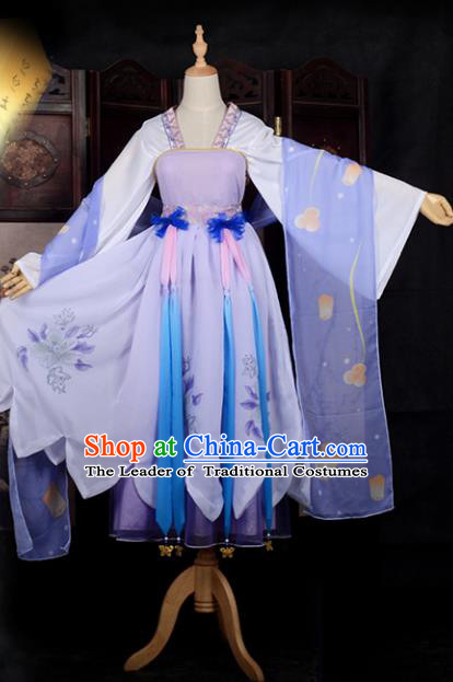 Chinese Ancient Cosplay Young Lady Princess Dance Purple Dress, Chinese Traditional Hanfu Clothing Chinese Fairy Costume for Women