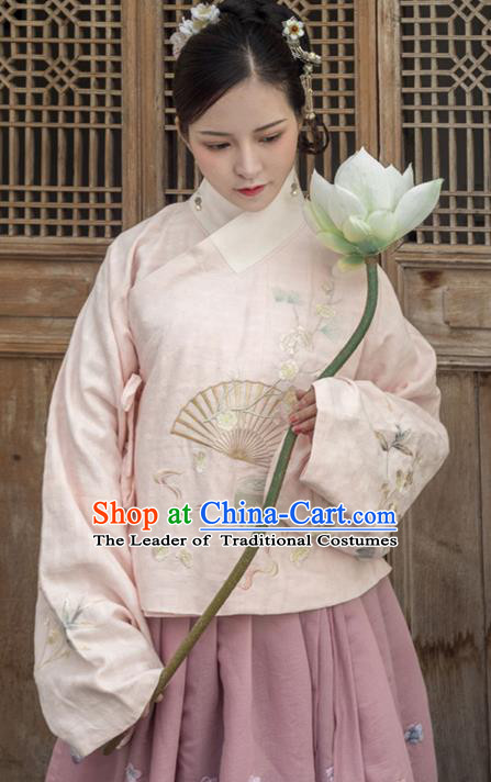 Traditional Ancient Chinese Ming Dynasty Imperial Dowager Costume Embroidery Pink Blouse, Chinese Palace Lady Upper Outer Garment for Women