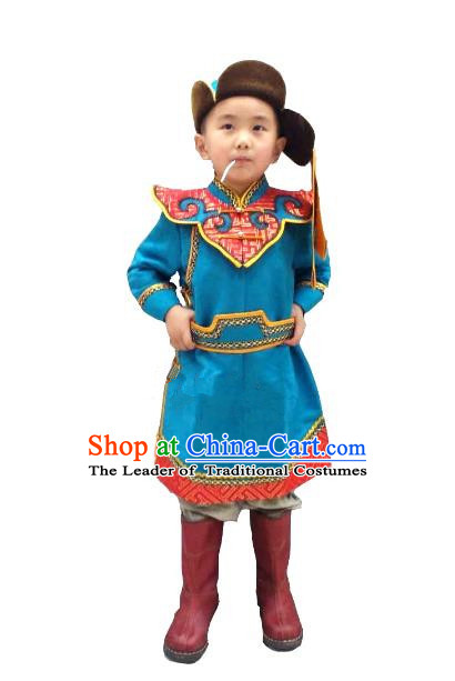 Traditional Chinese Mongol Nationality Dance Costume Handmade Blue Suede Fabric Mongolian Robe, China Mongolian Minority Nationality Clothing for Kids