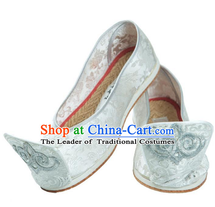 Traditional Chinese Ancient Cloth Shoes, China Princess Satin Shoes Handmade White Become Warped Head Shoe for Women