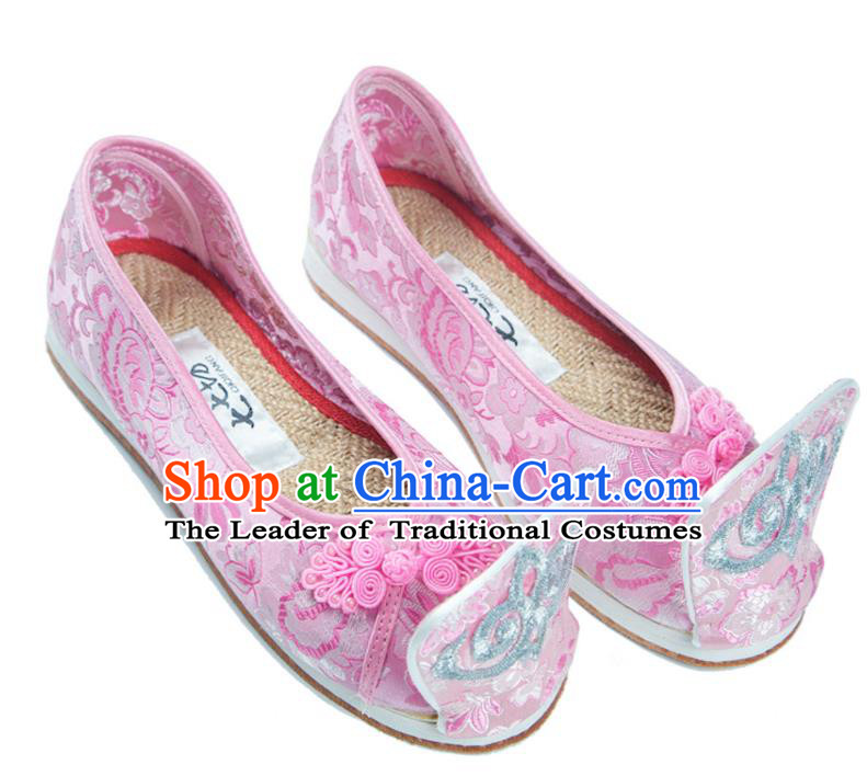 Traditional Chinese Ancient Cloth Shoes, China Princess Satin Shoes Handmade Pink Become Warped Head Shoe for Women