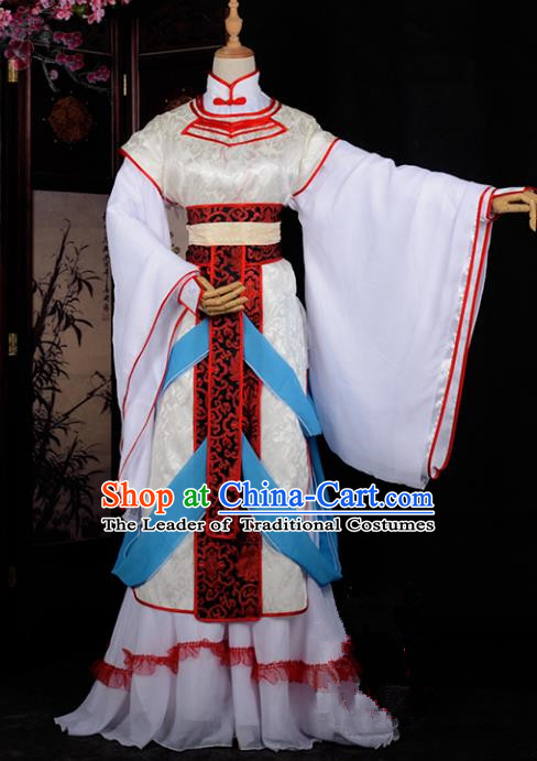 Chinese Ancient Cosplay Tang Dynasty Princess Embroidery Dress, Chinese Traditional Hanfu Clothing Chinese Fairy Costume for Women