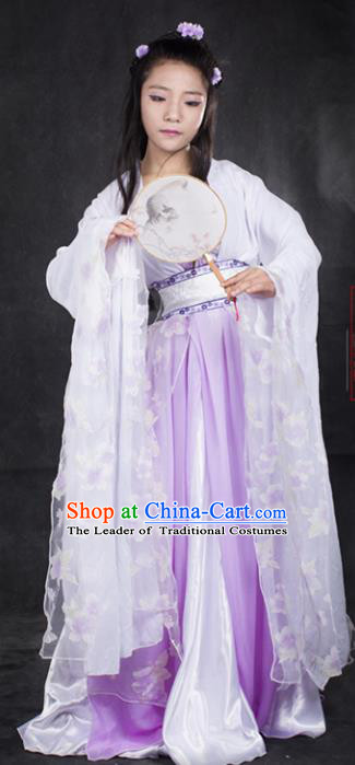 Chinese Ancient Cosplay Tang Dynasty Princess Embroidery Pink Dress, Chinese Traditional Hanfu Clothing Chinese Fairy Costume for Women