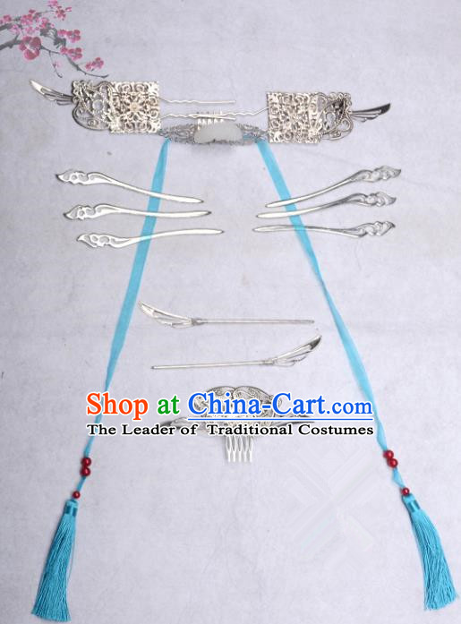 Traditional Handmade Chinese Ancient Classical Hair Accessories Young Lady Headwear, China Princess Hairpins Complete Set for Women