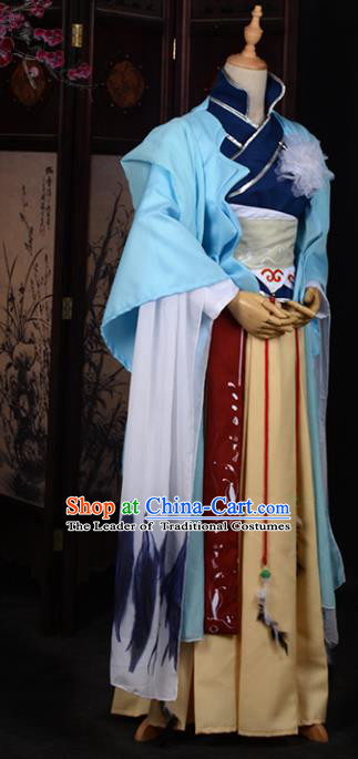 Chinese Ancient Cosplay Tang Dynasty Princess Embroidery Blue Young Lady Dress, Chinese Traditional Hanfu Clothing Chinese Fairy Costume for Women
