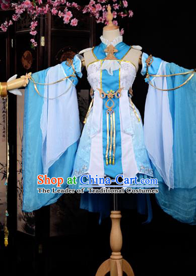 Chinese Ancient Cosplay Tang Dynasty Young Lady Embroidery Blue Dress, Chinese Traditional Hanfu Clothing Chinese Princess Fairy Costume for Women