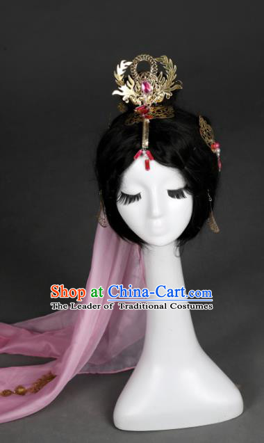 Traditional Handmade Chinese Ancient Classical Hair Accessories Princess Headwear Phoenix Coronet, China Princess Hairpins Headband for Women