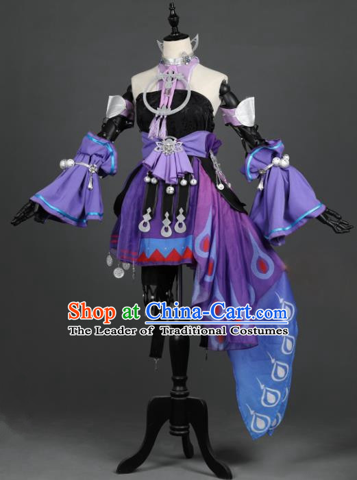 Chinese Ancient Cosplay Tang Dynasty Chivalrous Girls Embroidery Purple Dress, Chinese Traditional Hanfu Clothing Chinese Princess Fairy Costume for Women
