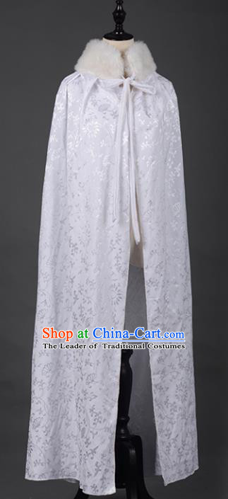 Chinese Ancient Cosplay Tang Dynasty Chivalrous Girls White Cloak, Chinese Traditional Hanfu Clothing Chinese Fairy Cape for Women