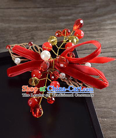 Traditional Handmade Chinese Ancient Classical Wedding Hair Accessories Bride Red Bowknot Hair Stick, China Princess Hairpins Headwear for Women