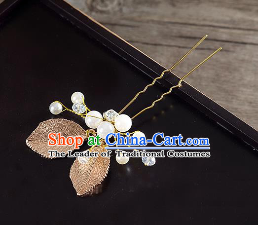 Traditional Handmade Chinese Ancient Classical Wedding Hair Accessories Bride Leaf Hair Stick, China Princess Hairpins Headwear for Women