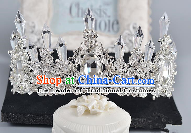 Top Grade Handmade Chinese Classical Hair Accessories Baroque Style Crystal Queen Round Royal Crown, Hair Sticks Hair Jewellery Hair Clasp for Women