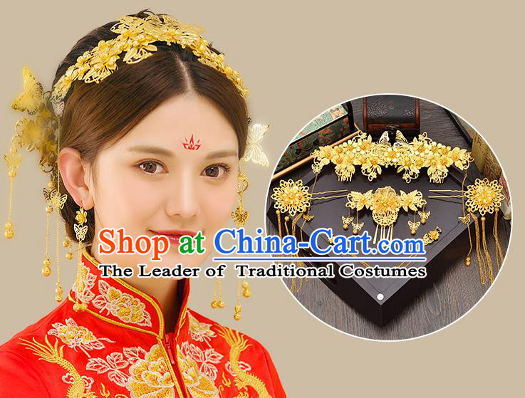 Traditional Handmade Chinese Ancient Classical Hair Accessories Xiuhe Suit Golden Hairpin Complete Set, Tassel Step Shake Hair Sticks Hair Jewellery Hair Fascinators for Women
