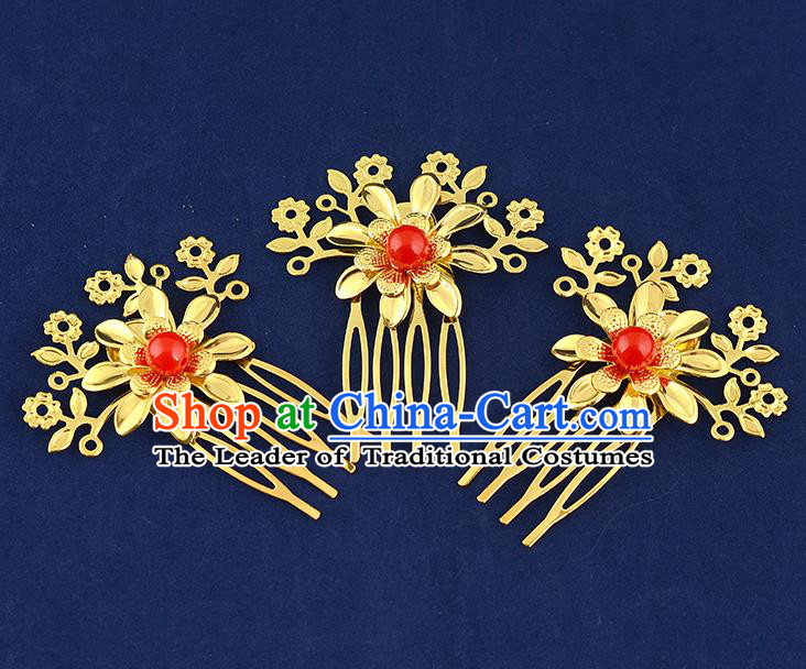 Traditional Handmade Chinese Ancient Classical Hair Accessories Xiuhe Suit Red Bead Golden Flower Hairpin Hair Comb, Hair Sticks Hair Jewellery Hair Fascinators for Women