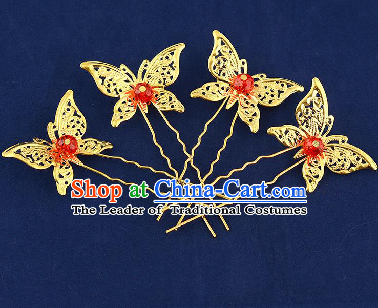 Traditional Handmade Chinese Ancient Classical Hair Accessories Xiuhe Suit Red Beads Butterfly Hairpin Hair Comb, Hair Sticks Hair Jewellery Hair Fascinators for Women