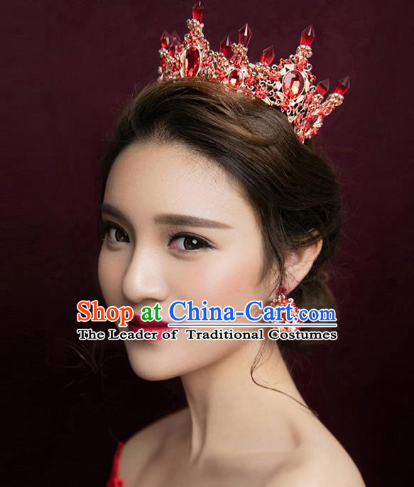 Top Grade Handmade Chinese Classical Hair Accessories Baroque Style Red Crystal Queen Royal Crown and Earrings, Hair Sticks Hair Jewellery Hair Clasp for Women