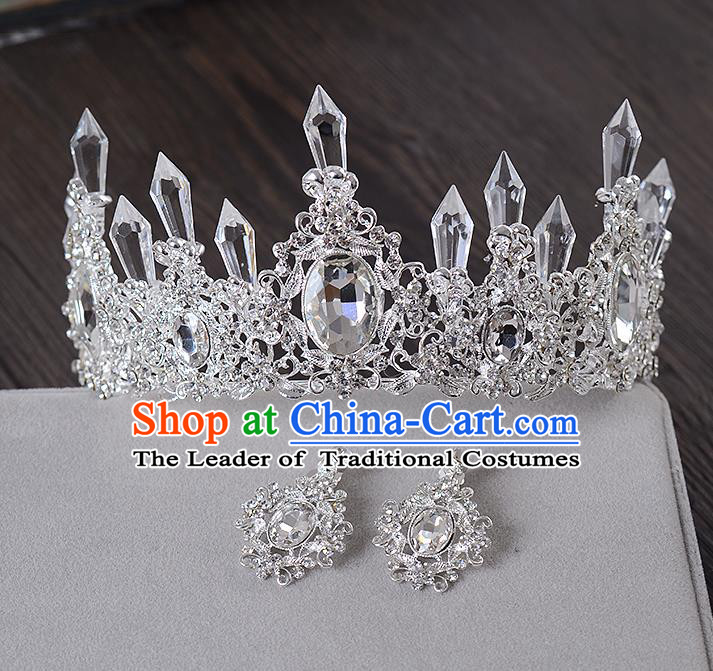 Top Grade Handmade Chinese Classical Hair Accessories Baroque Style Crystal Queen Royal Crown and Earrings, Hair Sticks Hair Jewellery Hair Clasp for Women