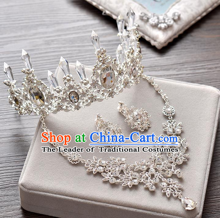 Top Grade Handmade Chinese Classical Hair Accessories Baroque Style Crystal Queen Royal Crown and Necklace Earrings, Hair Sticks Hair Jewellery Hair Clasp for Women