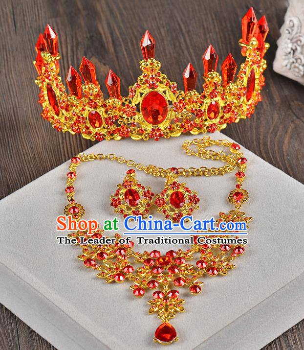 Top Grade Handmade Chinese Classical Hair Accessories Baroque Style Red Crystal Queen Royal Crown and Necklace Earrings, Hair Sticks Hair Jewellery Hair Clasp for Women
