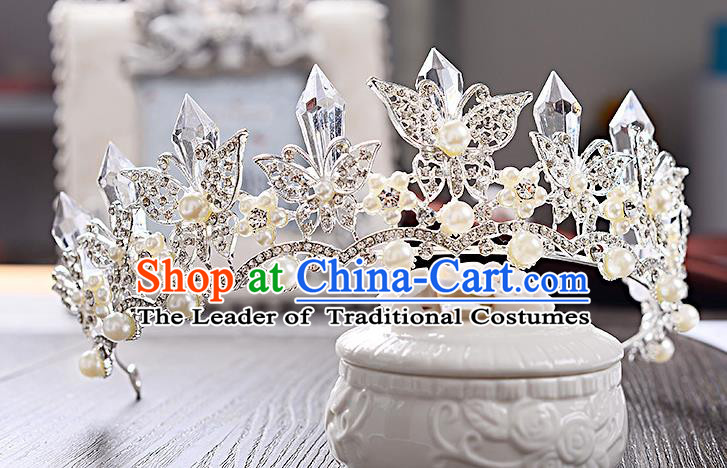 Top Grade Handmade Chinese Classical Hair Accessories Baroque Style Crystal Butterfly Royal Crown, Hair Sticks Hair Jewellery Hair Clasp for Women