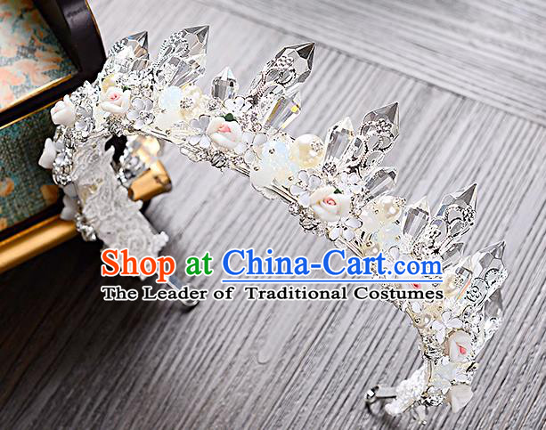 Top Grade Handmade Chinese Classical Hair Accessories Baroque Style Crystal Pearls Royal Crown, Hair Sticks Hair Jewellery Hair Clasp for Women