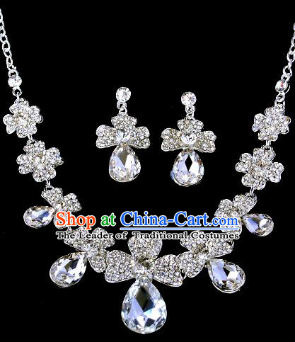Top Grade Handmade Chinese Classical Jewelry Accessories Baroque Style Crystal Bowknot Necklace and Earrings for Women