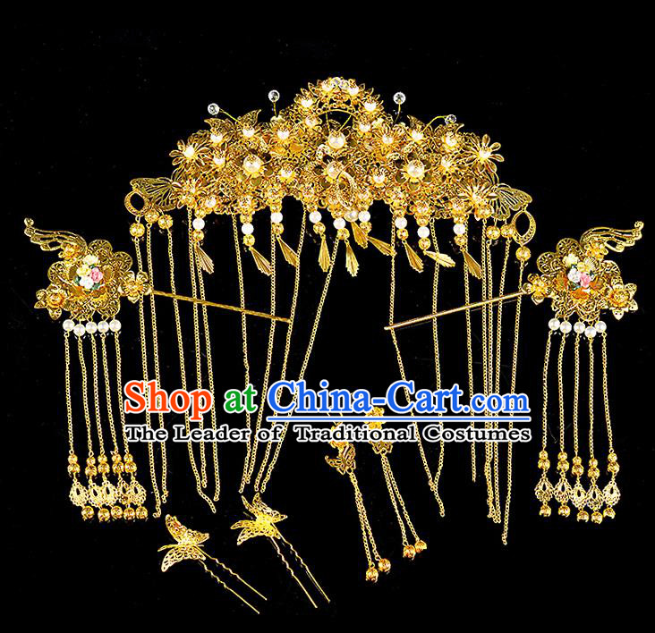 Traditional Handmade Chinese Ancient Classical Hair Accessories Xiuhe Suit Golden Butterfly Pearl Tassel Hairpin Phoenix Coronet Complete Set, Hair Sticks Hair Jewellery Hair Fascinators for Women