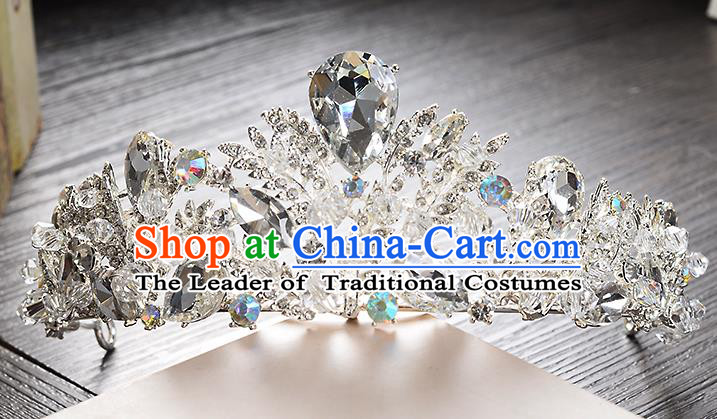 Top Grade Handmade Chinese Classical Hair Accessories Baroque Style Crystal Royal Crown, Hair Sticks Hair Jewellery Hair Clasp for Women