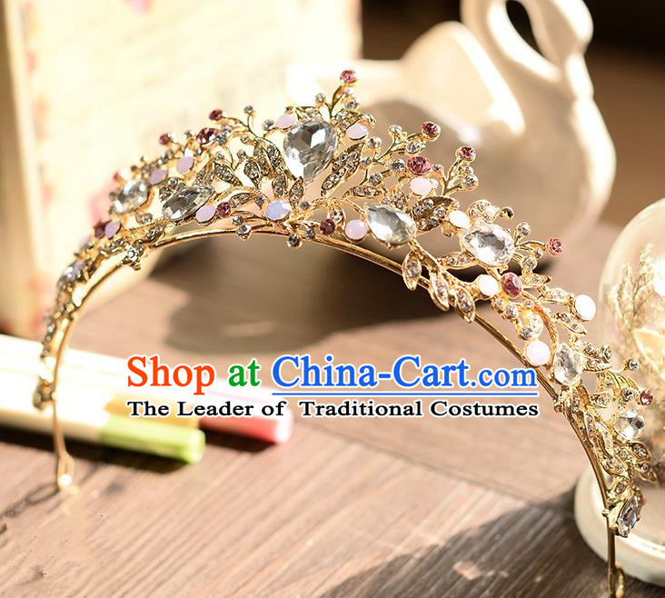 Top Grade Handmade Chinese Classical Hair Accessories Baroque Style Crystal Opal Royal Crown, Hair Sticks Hair Jewellery Hair Clasp for Women