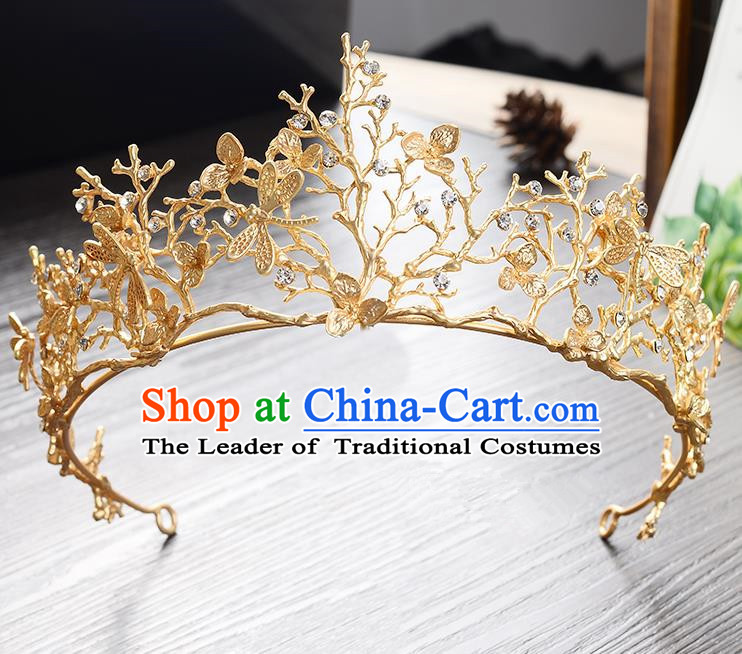 Top Grade Handmade Chinese Classical Hair Accessories Baroque Style Headband Golden Dragonfly Princess Royal Crown, Hair Sticks Hair Jewellery Hair Clasp for Women