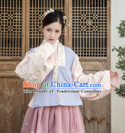 Traditional Ancient Chinese Ming Dynasty Embroidery Costume Upper Outer Garment, Chinese Palace Lady Hanfu Dress Sleeveless Over-dress for Women