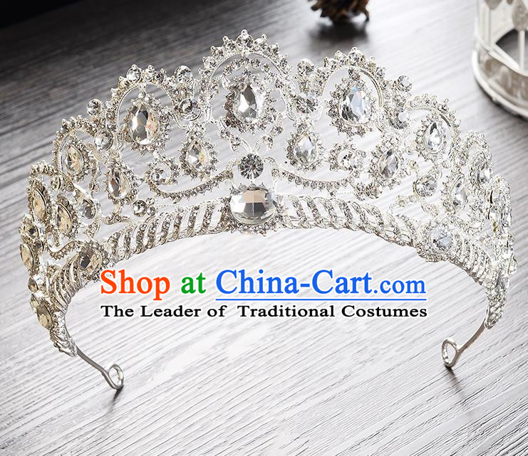Top Grade Handmade Chinese Classical Hair Accessories Baroque Style Headband White Crystal Princess Royal Crown, Hair Sticks Hair Jewellery Hair Clasp for Women