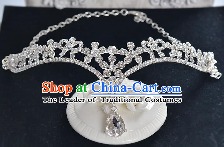 Top Grade Handmade Chinese Classical Hair Accessories Baroque Style Crystal Frontlet Princess Royal Crown, Hair Sticks Hair Jewellery Hair Clasp for Women