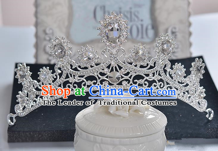 Top Grade Handmade Chinese Classical Hair Accessories Baroque Style Crystal Princess Royal Crown, Hair Sticks Hair Jewellery Hair Clasp for Women