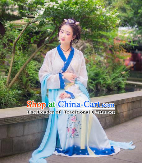 Traditional Chinese Ming Dynasty Imperial Consort Hanfu Costume, China Ancient Dress Palace Princess Peri Printing Clothing for Women