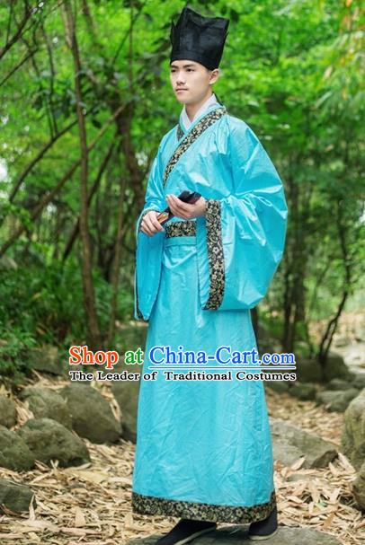 Traditional Chinese Han Dynasty Nobility Childe Hanfu Costume, China Ancient Scholar Clothing for Men