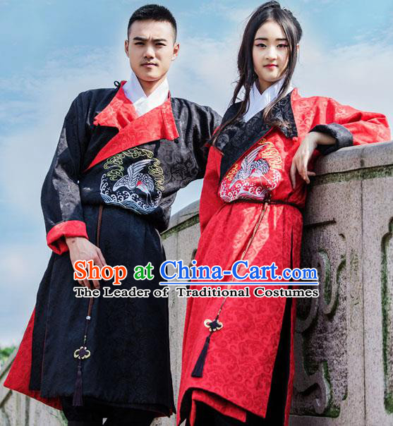 Traditional Chinese Ming Dynasty Blades Hanfu Costume, China Ancient Imperial Guards Embroidery Clothing for Men for Women