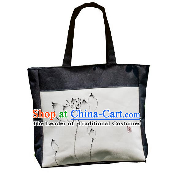 Traditional Handmade Chinese Printing Lotus Bags, China Ancient Canvas Handbags for Women