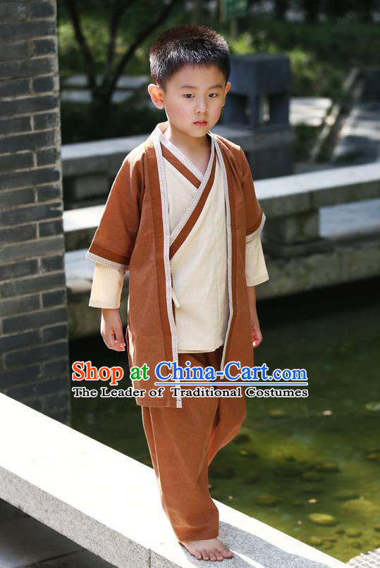 Traditional Chinese Han Dynasty Children Hanfu Martial Arts Costume, China Ancient Scholar Brown Clothing for Kids